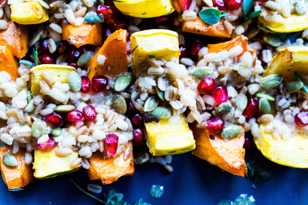 All of It - Thanksgiving Recipes - Roasted Squash with Farro, Toasted Pepitas, Pomegranate, & Warm Maple Cinnamon Drizzle
