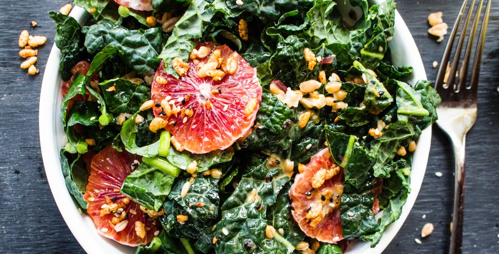 All of It - Blood Orange Kale Salad with Farro and Crispy Rice Clusters