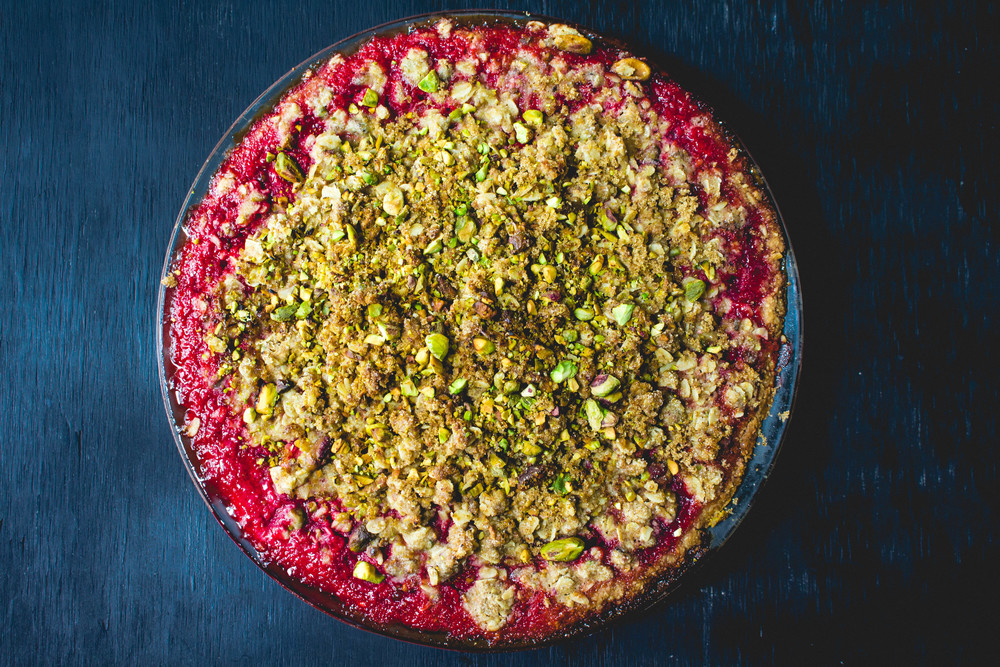 All of It - Vegan Strawberry Pistachio Crumble Pie