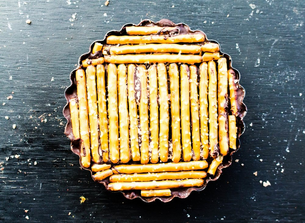 All of It - Vegan Dark Chocolate Peanut Butter Pretzel Pie
