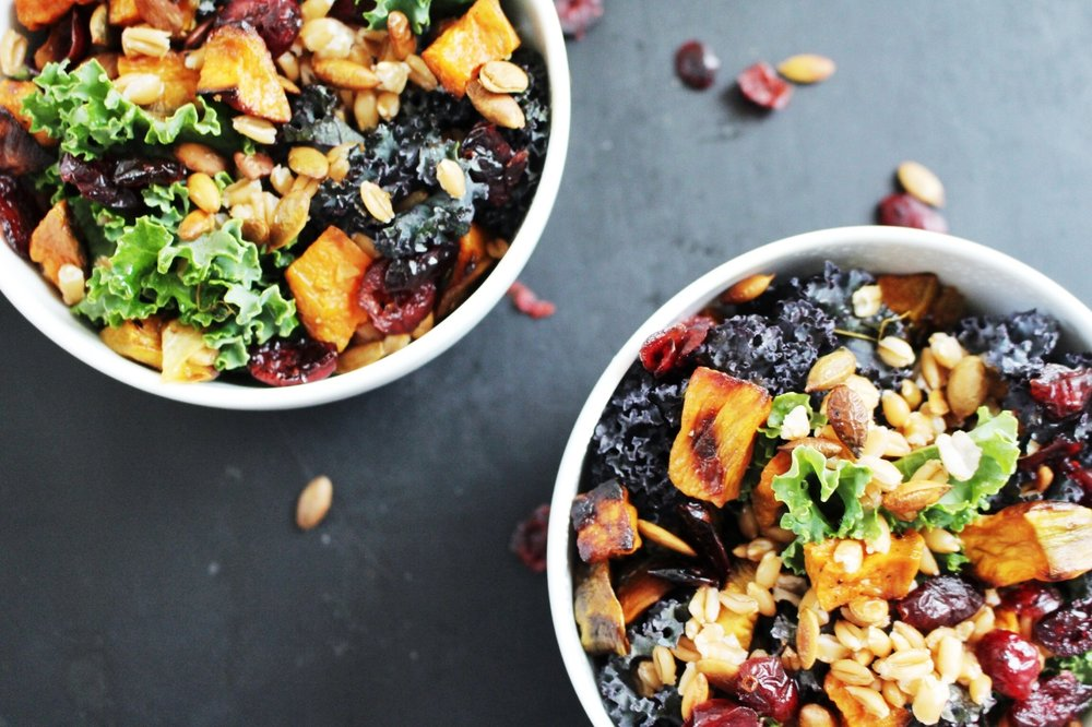 All of It - Roasted Sweet Potato, Farro, and Kale Salad with Warm Cinnamon Honey Dressing
