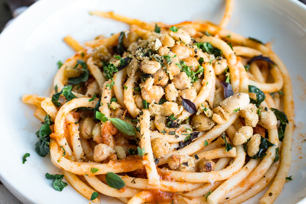 All of It - Crispy Herbed Chickpeas over Pasta with Tomato Sauce