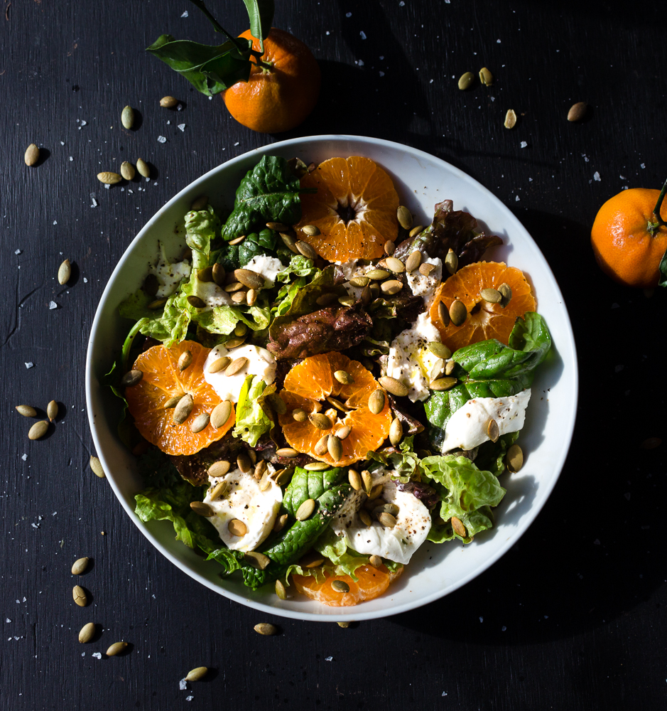 All of It - Fresh Greens, Satsuma Oranges, and Burrata Salad