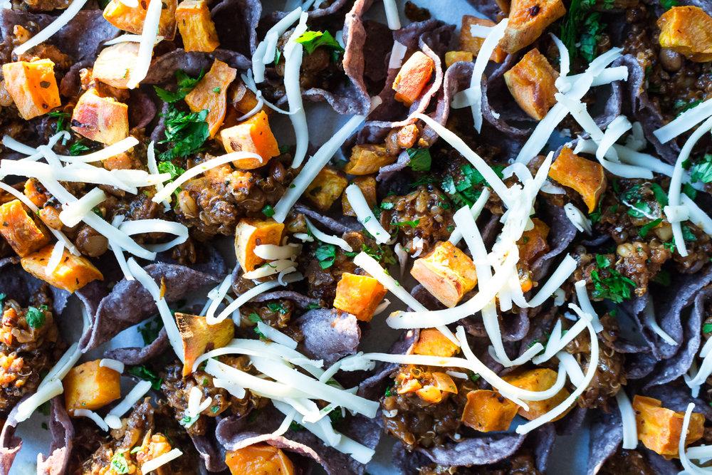All of It - Vegetarian Lentil Barley Nachos with Homemade Enchilada Sauce