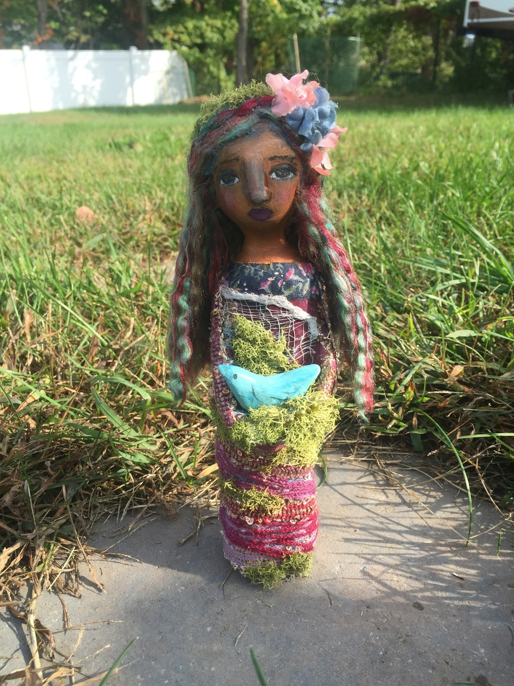 Original paper clay art doll  by Jennifer Albin, 2015.