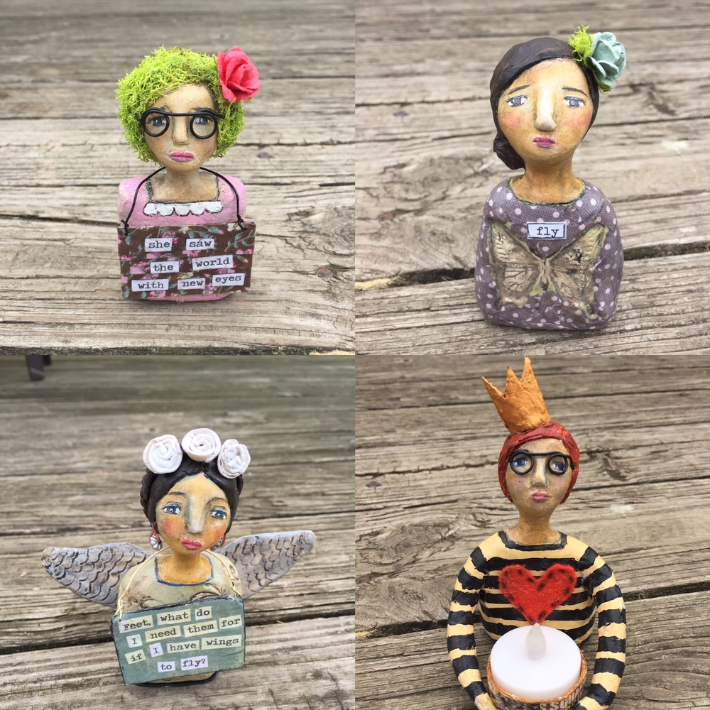 Original paper clay art dolls by Jennifer Albin, 2016