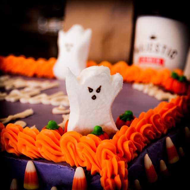 Happy Halloween!!! Custom catering deliciousness available at Majestic Diner #ramseynj #marshmallow #ghost #boo! #buttercream #layercake #eatmajestic