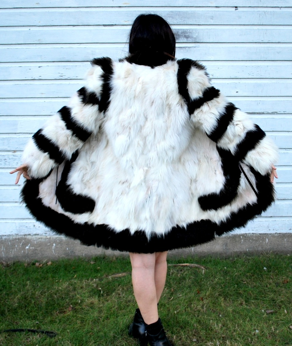 Irina Vintage Black and white boho shaggy chic Fox fur coat...$550.00 -2 copy.JPG