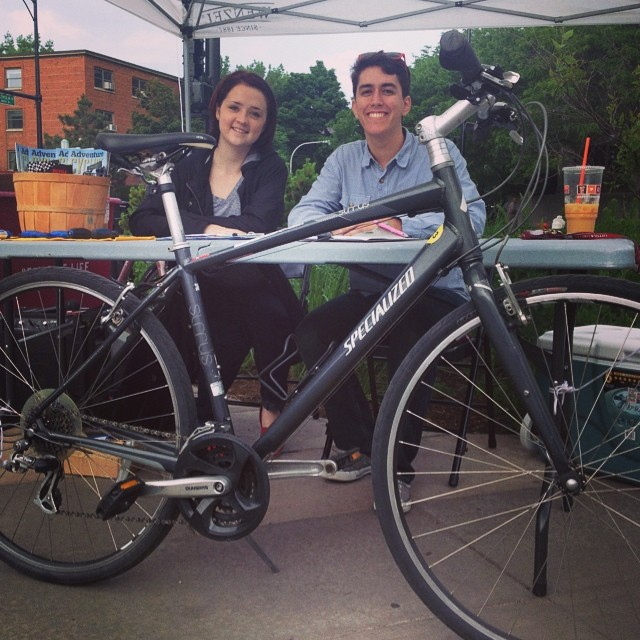 Free bike maintenance at the Loyola plaza in front of the Loyola L station!