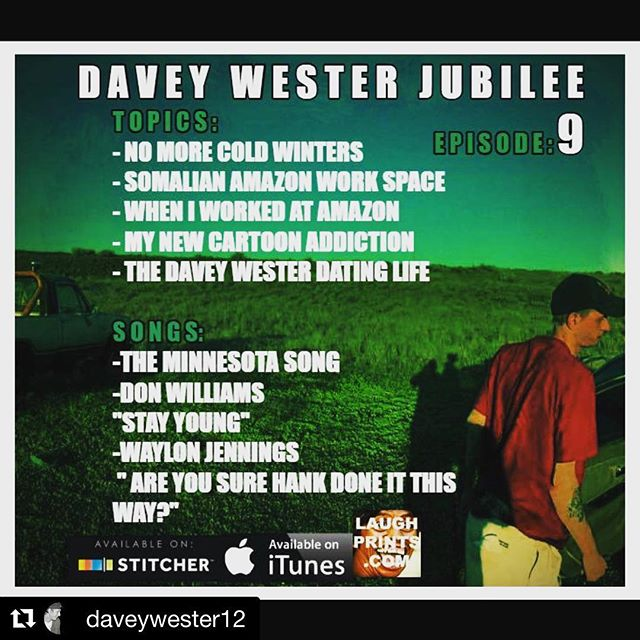 New @daveywester12 #jubilee  #podcast ・・・ New #daveywesterjubilee EP: 9.  My days working at #amazon - fighting with somalian co workers - new #cartoon obsession -my dating life- No more cold #Minnesota winters - #donWilliams #minnesotawinter #WaylonJennings #smalltown #smalltownliving #countryshow #bluecollar #redneck style show. #itunes #stitcher #podcast #countrylife #countrystyle
