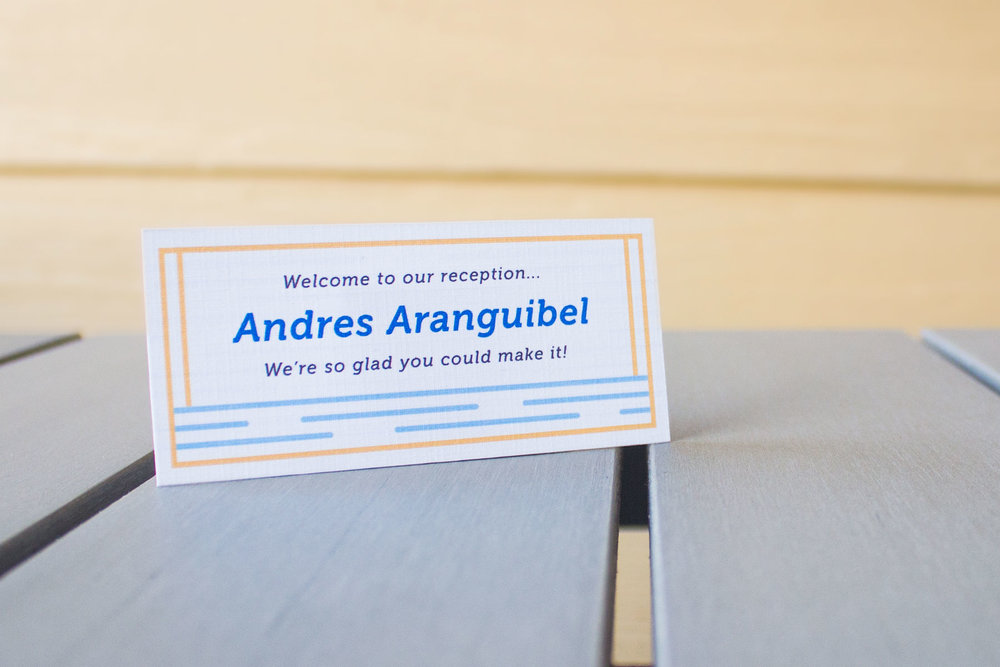 Name Card: placed at tables prior to our reception