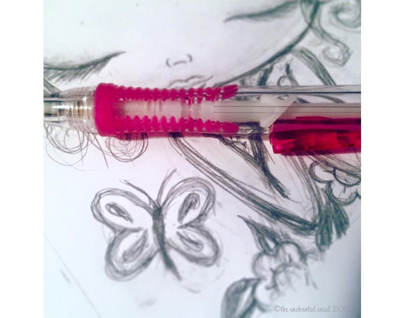 pink pencils, butterflies and flowers...