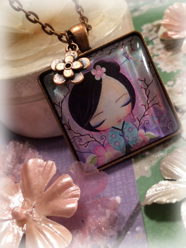 sakura kokeshi~pendant necklace