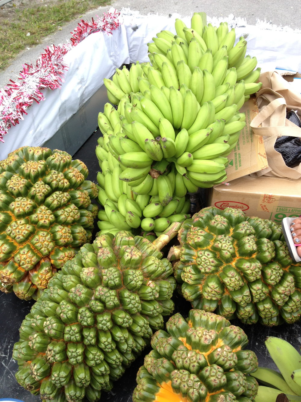 Pandanus and bananas