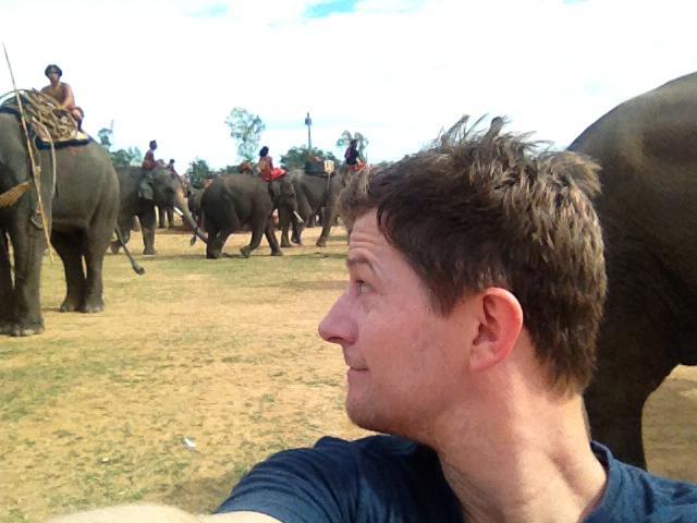 Selfie as we film elephants in 3D in Thailand.