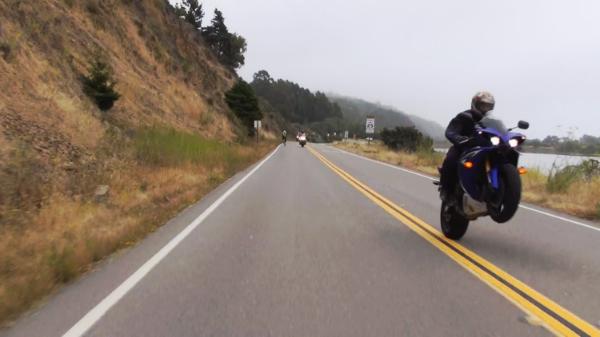 A wheelie on the Sunday Morning Drive 3D shoot.
