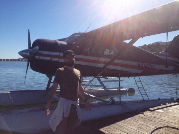 Malden our Gopro Tech rigging up the seaplane for the Sunday Morning Drive 3D shoot.