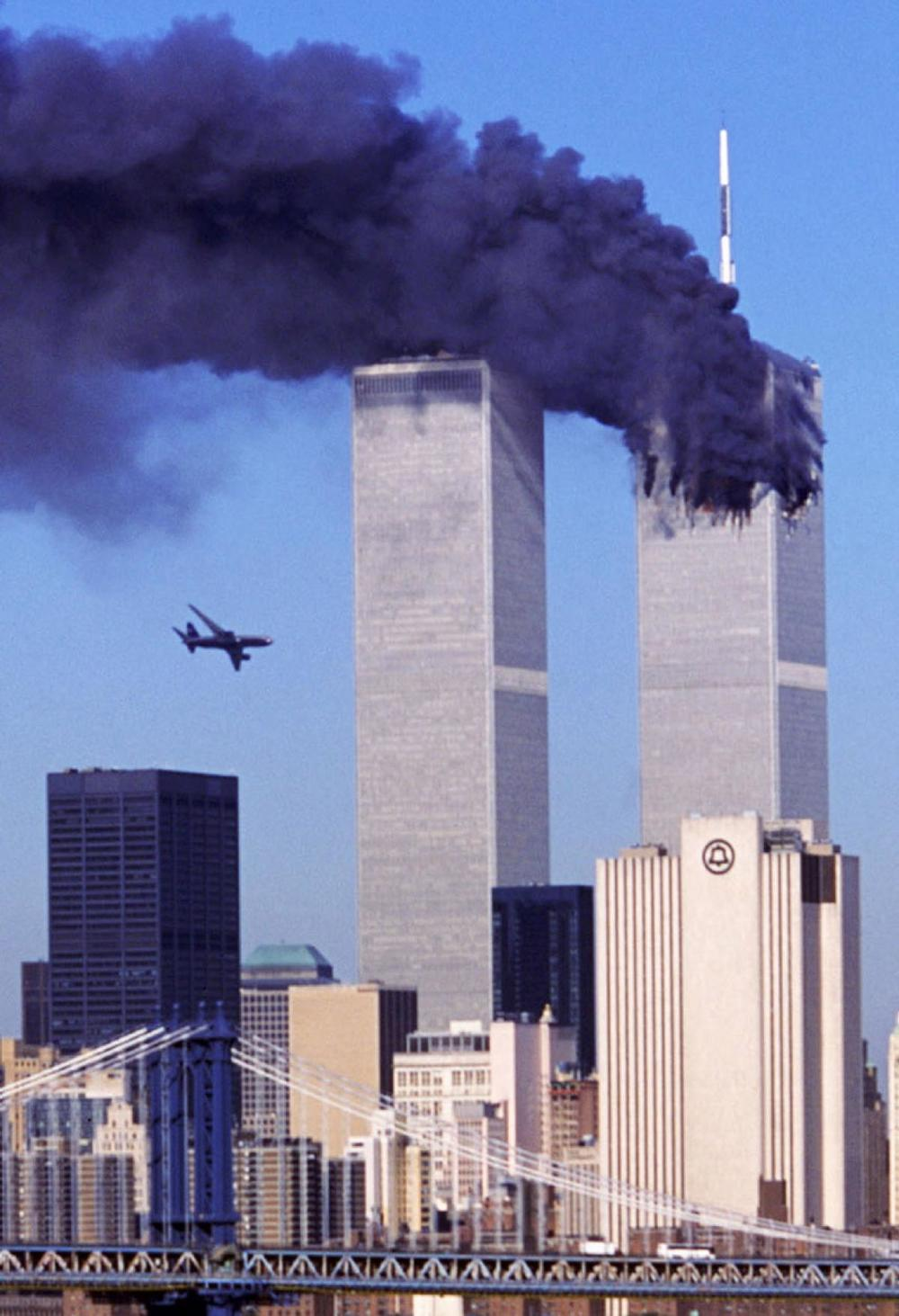 Flight 175 before crashing into the South Tower at the World Trade Center