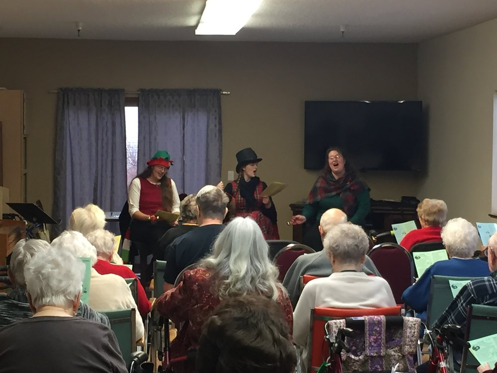 the Staley Sisters sing Carols at Churchill Estates