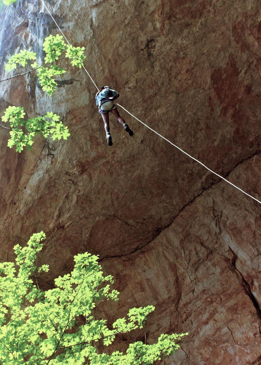 Iffy on rope at Gunsight Cave