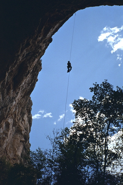 Ryan on rope at Gunsight Cave
