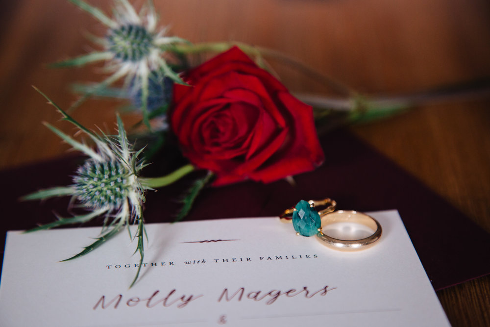 Invitation Suite by Hadley Press - Raw Emerald Ring by  DeLezhen