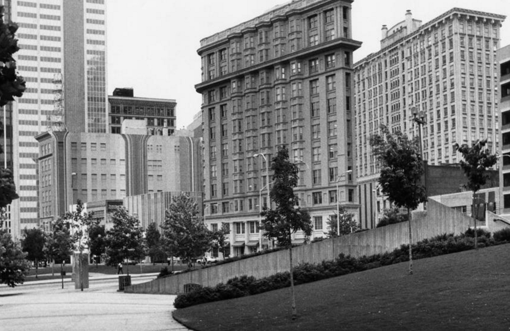 1981: Looking across Woodruff Park, downtown buildings from left to right: Muses, C&S, Flatiron and Healey. [ AJC ]