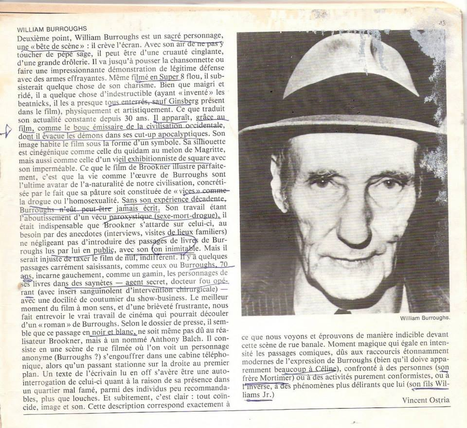 Burroughs: The Movie reviewed in Cahiers du Cinéma, 1984
