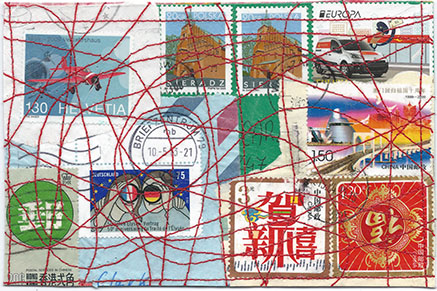 postcard made of collaged foreign stamps then stitched
