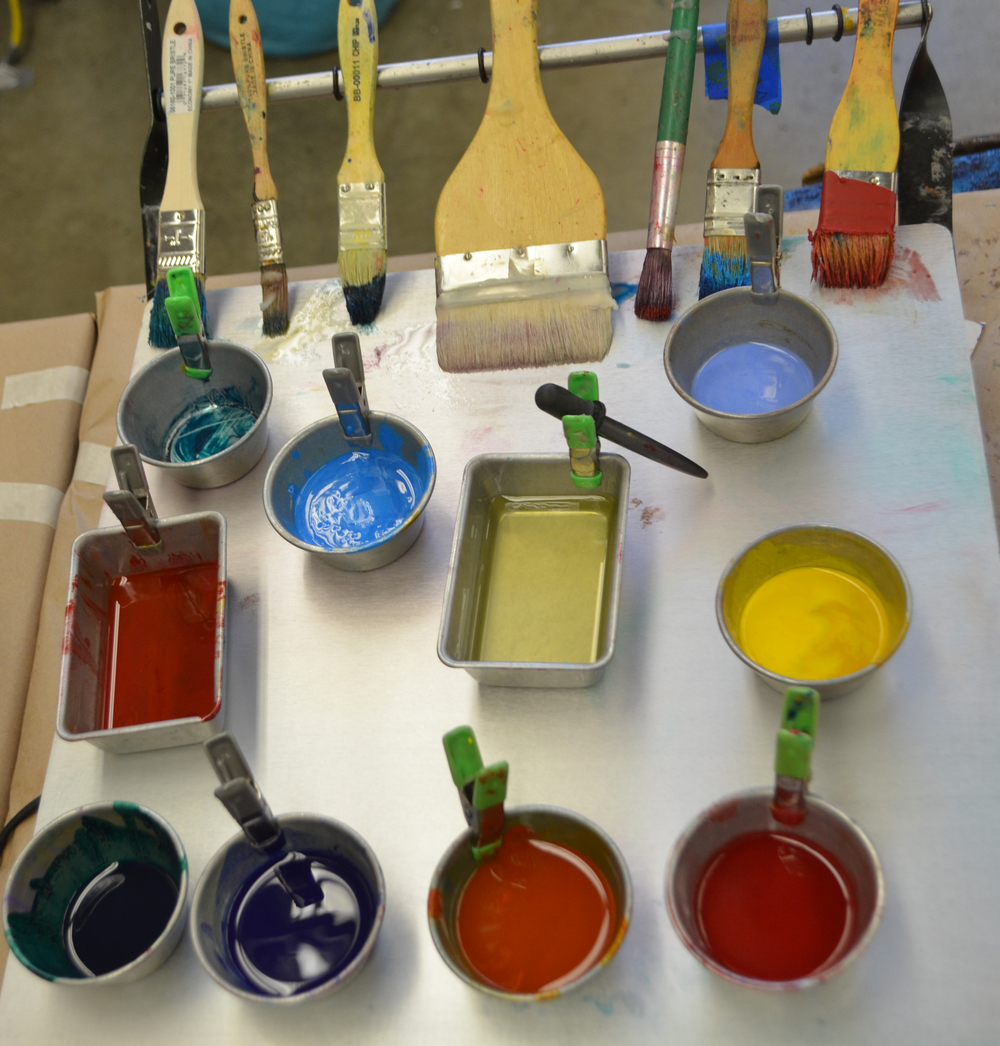 My palette of  R&F Encaustic Medium and Paints