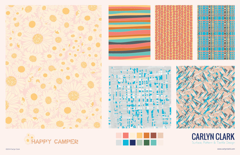 "I pulled this collection together after taking the ""Design Surface Patterns From Scratch with Bonnie Christine"" course on Creative Live. I took the class because I was wanting to improve my Illustrator skills. There are 31 segments that guide you from the basics of setting up files and getting to know the tools all the way through presenting your finished designs. Bonnie covers turning photos and sketches into finished designs and setting your prints into repeating pattern."