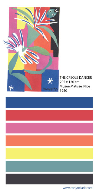 color palette inspired by  The Creole Dancer by Henri Matisse
