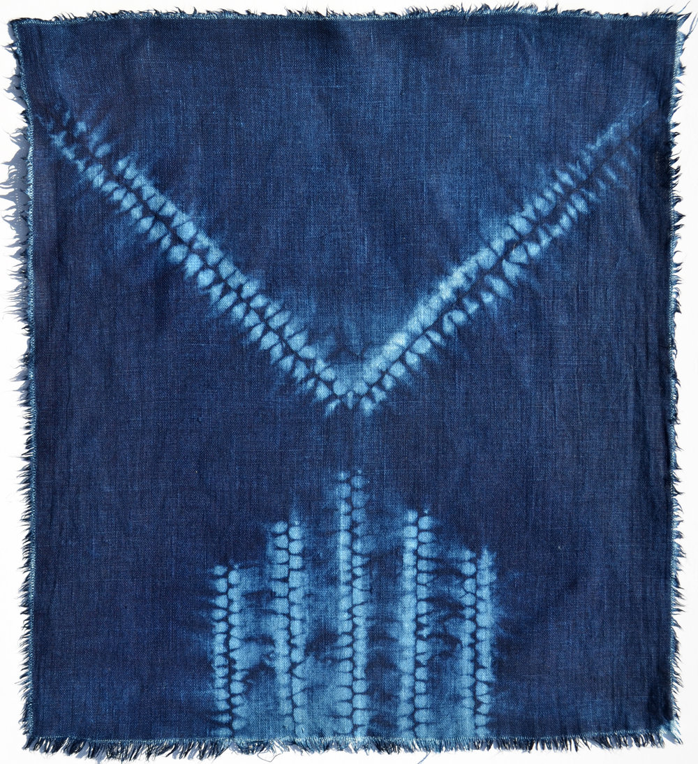 "16.5"" x 18.75"" Linen panel, indigo vat dyed after hira-nui and ori-nui shibori stitching by Carlyn Clark"