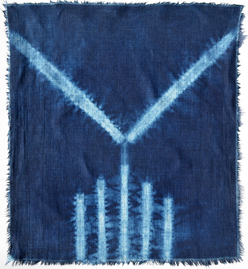 "16.5"" x 18.75"" Linen panel (reverse side) , indigo vat dyed after hira-nui and ori-nui shibori stitching by Carlyn Clark"
