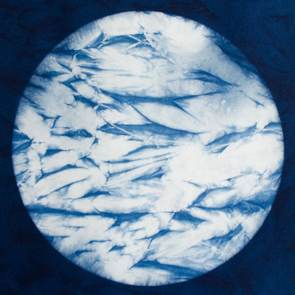 Arashi Shibori dyed in an indigo vat by Carlyn Clark