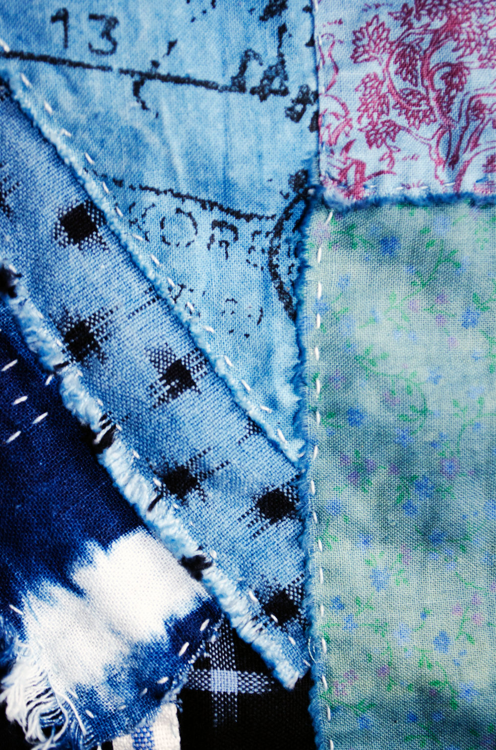 overdyed cotton stitched onto ikat, stitched onto ikat, stitched onto shibori linen