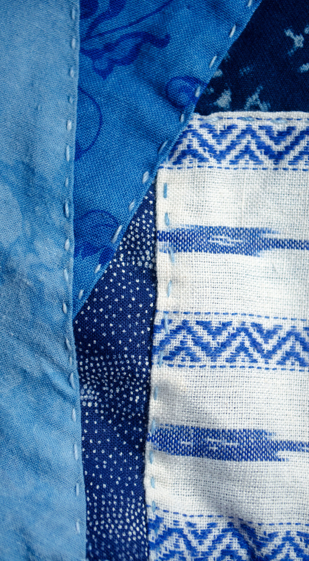handwoven cotton overdyed and handstitched