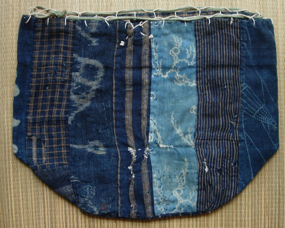 Komebukuro, vintage Japanese rice bag, patchwork of various indigo-dyed cotton fabric, available on Etsy