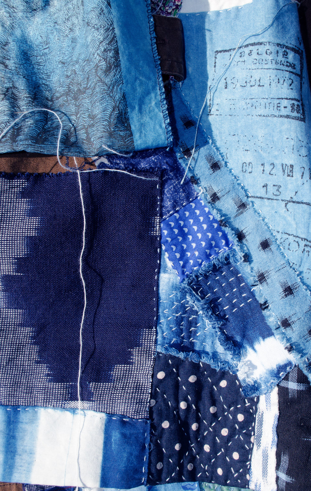 Boro inspired stitching with scraps of indigo