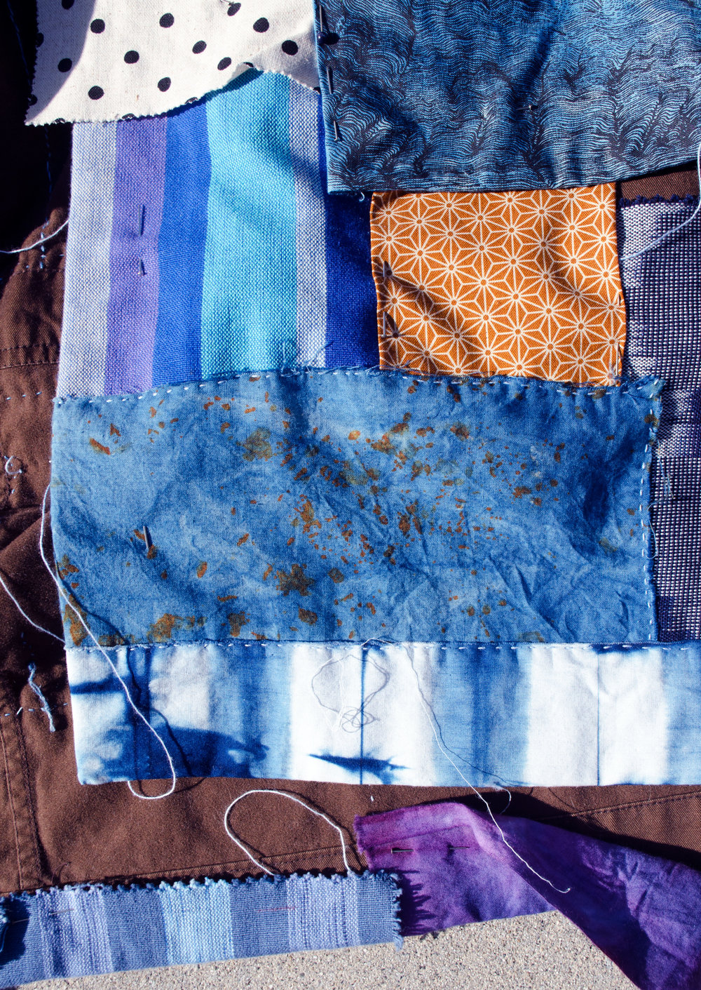 Rust-dyed cotton overdyed with indigo