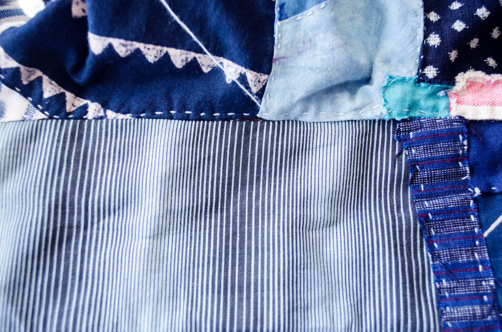 visible mending using cottons hand dyed in the indigo vat