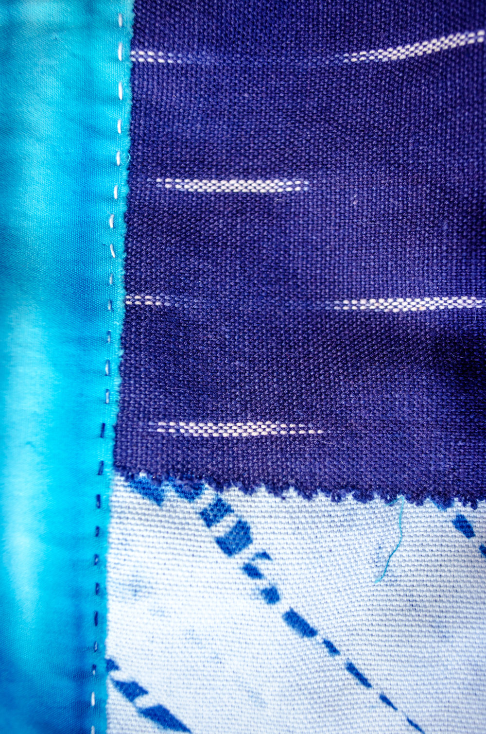 handstitched using indigo dyed cotton thread