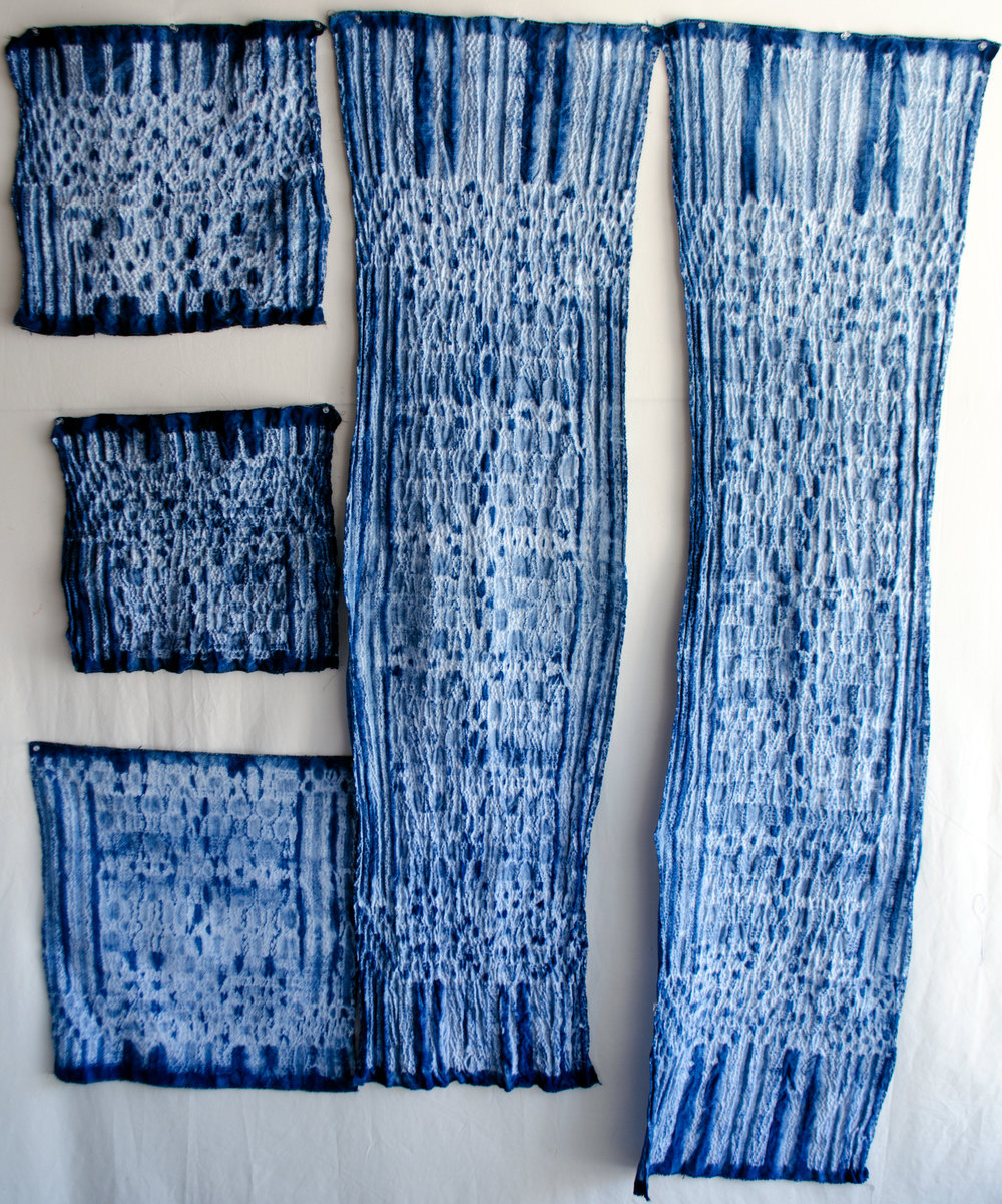 Handwoven cotton by Ginny Mateen dipped in the indigo vat by Carlyn Clark