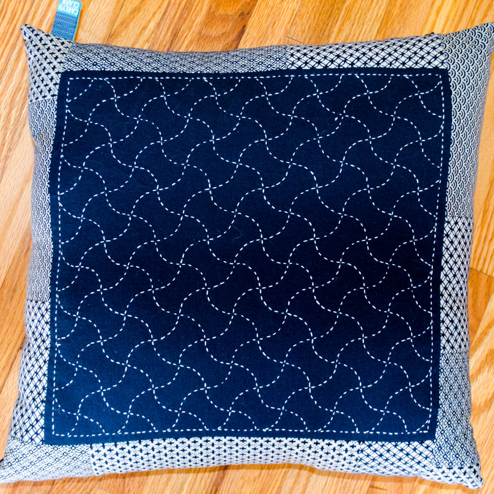 Fundo tsunagi sashiko stitched pillow by Carlyn Clark