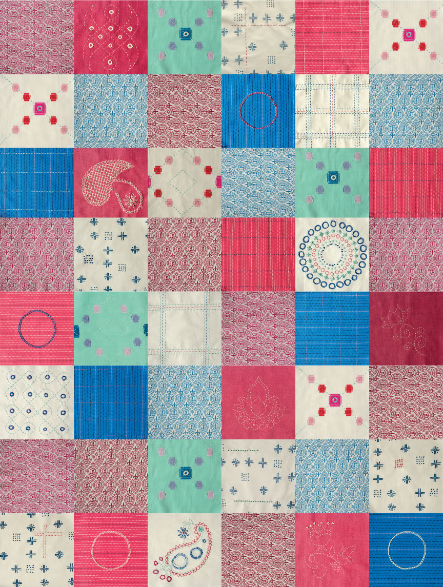 48 squares make up this patchwork quilt with hand embroidered themes inspired by Indian designs