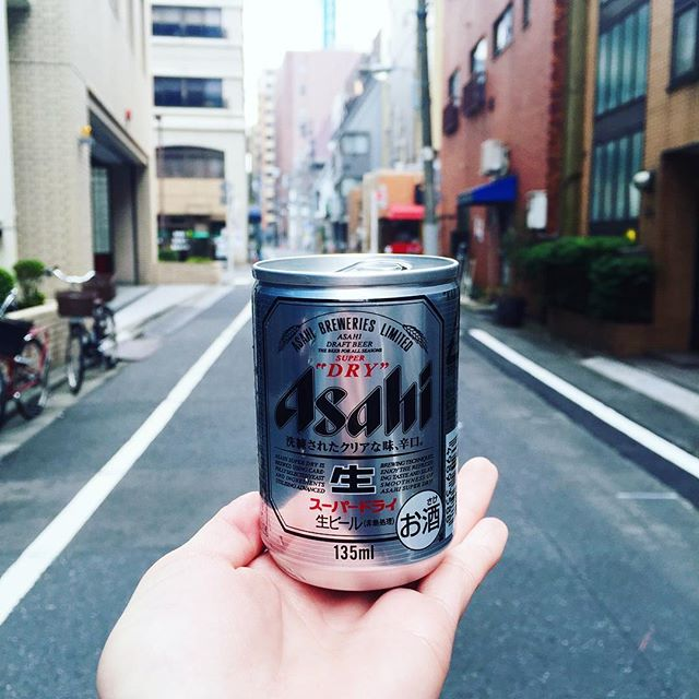 Afternoon beer for my afternoon stroll. No open container laws. 😁 #japan #travel #tokyo #asahi #beer