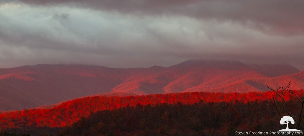 Red velvety first light kissing Bad Fork Valley.  I had never seen light like this.