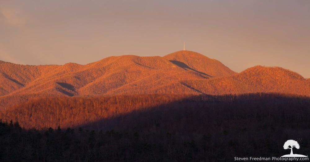 First light kisses Bad Fork Valley and Mt. Pisgah
