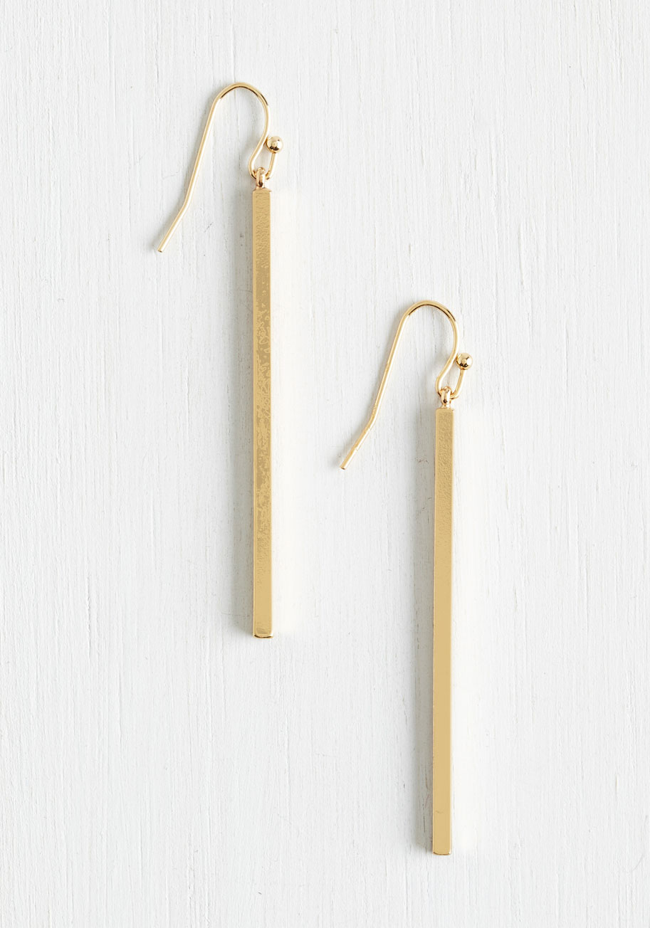 Key to Simplicity Earrings in Gold | Modcloth | A perfect go-to pair for everyday wear | $13