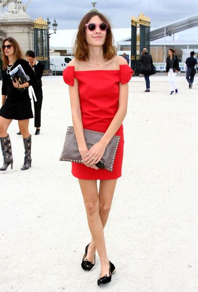 alexa-chung-red-dress-out-party-wedding-flats-loafers-off-the-shoulder.jpg